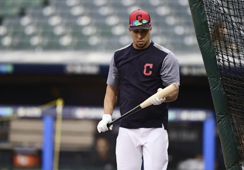 Cleveland Indians' Michael Brantley walks into the batting cage during a team workout, Wednesday, Oct. 4, 2017, in Cleveland. The Indians are scheduled to play the New York Yankees in Game 1 of an ALDS on Thursday. (AP Photo/David Dermer)
