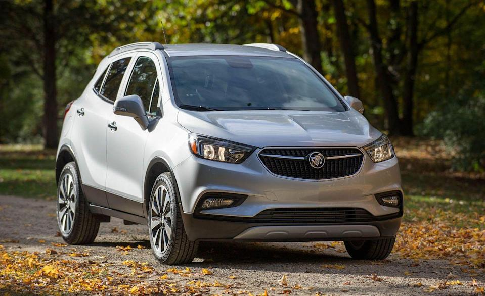 """<p>Buick doesn't make cars anymore. Gone are the days of <a href=""""https://www.caranddriver.com/buick/regal-gs"""" rel=""""nofollow noopener"""" target=""""_blank"""" data-ylk=""""slk:Regal"""" class=""""link rapid-noclick-resp"""">Regal</a> and <a href=""""https://www.caranddriver.com/reviews/a15131996/buick-lacrosse-first-drive-review/"""" rel=""""nofollow noopener"""" target=""""_blank"""" data-ylk=""""slk:Lacrosse"""" class=""""link rapid-noclick-resp"""">Lacrosse</a>. It's all crossovers and SUVs now. The Buick Encore is the smallest in that lineup, and it's the <a href=""""https://www.caranddriver.com/features/g23643317/cheapest-luxury-cars-suvs/"""" rel=""""nofollow noopener"""" target=""""_blank"""" data-ylk=""""slk:cheapest luxury vehicle sold in the U.S."""" class=""""link rapid-noclick-resp"""">cheapest luxury vehicle sold in the U.S.</a> Depending on how generous your definition of luxury is. We fit 20 carry-on bags in the Encore, but with the rear seats in use, storage space is about average, and choices like the Kia Soul or Chevrolet Trailblazer offer more room for rear cargo. </p><ul><li>Base price: $24,395</li><li>Carry-on capacity, rear seats folded: 20 suitcases</li><li>Cargo volume, rear seats folded: 48 cubic feet<br></li><li>Cargo volume, behind rearmost row of seats: 18 cubic feet</li></ul><p><a class=""""link rapid-noclick-resp"""" href=""""https://www.caranddriver.com/buick/encore/specs"""" rel=""""nofollow noopener"""" target=""""_blank"""" data-ylk=""""slk:MORE ENCORE SPECS"""">MORE ENCORE SPECS</a></p>"""