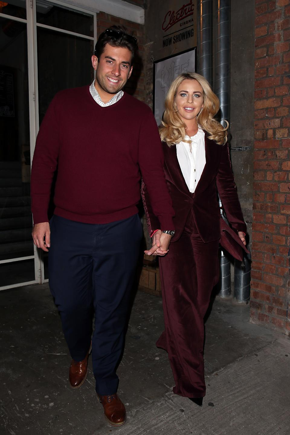 LONDON, ENGLAND - OCTOBER 01:  Lydia Bright and James Argent leaving The Intern - Special screening hosted by Lydia Bright at The Electric Cinema Shoreditch on October 1, 2015 in London, England.  (Photo by Neil P. Mockford/Getty Images for Warner Bros.)