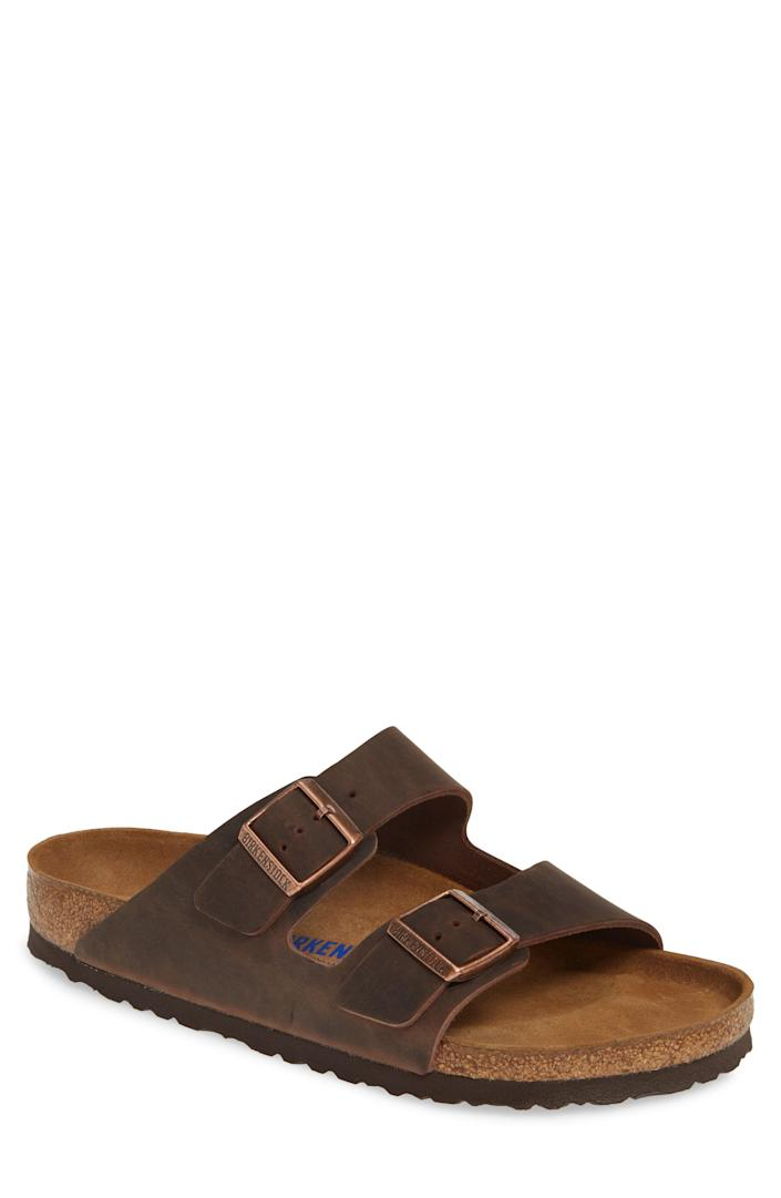 """<p><strong>BIRKENSTOCK</strong></p><p>nordstrom.com</p><p><strong>$134.95</strong></p><p><a href=""""https://go.redirectingat.com?id=74968X1596630&url=https%3A%2F%2Fwww.nordstrom.com%2Fs%2Fbirkenstock-arizona-soft-slide-sandal-men%2F3409982&sref=https%3A%2F%2Fwww.thepioneerwoman.com%2Fholidays-celebrations%2Fgifts%2Fg32883915%2Flast-minute-fathers-day-gifts%2F"""" rel=""""nofollow noopener"""" target=""""_blank"""" data-ylk=""""slk:Shop Now"""" class=""""link rapid-noclick-resp"""">Shop Now</a></p><p>There's a reason Birkenstocks have always been an iconic shoe. This version features a shock-absorbing footbed, foam cushioning, and the signature adjustable straps.</p>"""