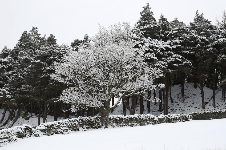 The snow covered landscape at Allenheads, England, Sunday, Feb. 7, 2021. Snow has swept across the region Sunday, with further snowfall predicted to impact on the country bringing travel problems as temperatures drop. (AP Photo/Scott Heppell)