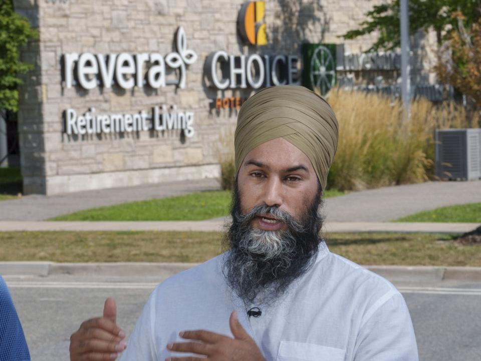 """<span class=""""caption"""">NDP leader Jagmeet Singh held a news conference in front of a long-term care home in Mississauga, Ont. on Aug. 24. </span> <span class=""""attribution""""><span class=""""source"""">THE CANADIAN PRESS/Paul Chiasson </span></span>"""