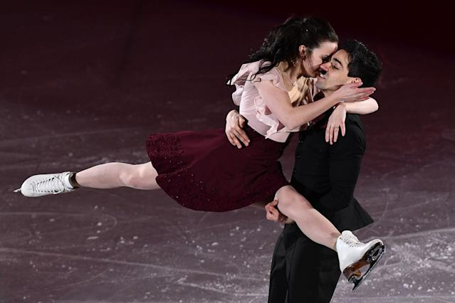 <p>Italy's Anna Cappellini and Italy's Luca Lanotte perform during the figure skating gala event during the Pyeongchang 2018 Winter Olympic Games at the Gangneung Oval in Gangneung on February 25, 2018. / AFP PHOTO / ARIS MESSINIS (Photo credit should read ARIS MESSINIS/AFP/Getty Images) </p>