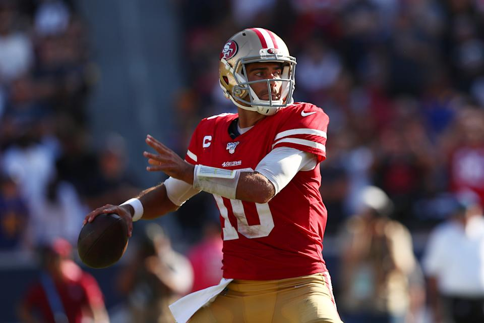 The Niners have some pieces to win a Super Bowl. Is Jimmy Garoppolo one of them? (Getty Images)