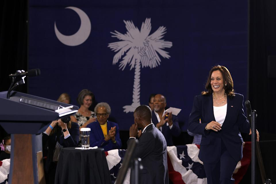 Vice President Kamala Harris spoke at a COVID-19 vaccination mobilization event at the Phillis Wheatley Community Center June 14, 2021 in Greenville, South Carolina. The trip is part of a nationwide tour to encourage people to get vaccinated. While in South Carolina, Harris also met with voting rights activists. (Photo by Alex Wong/Getty Images)