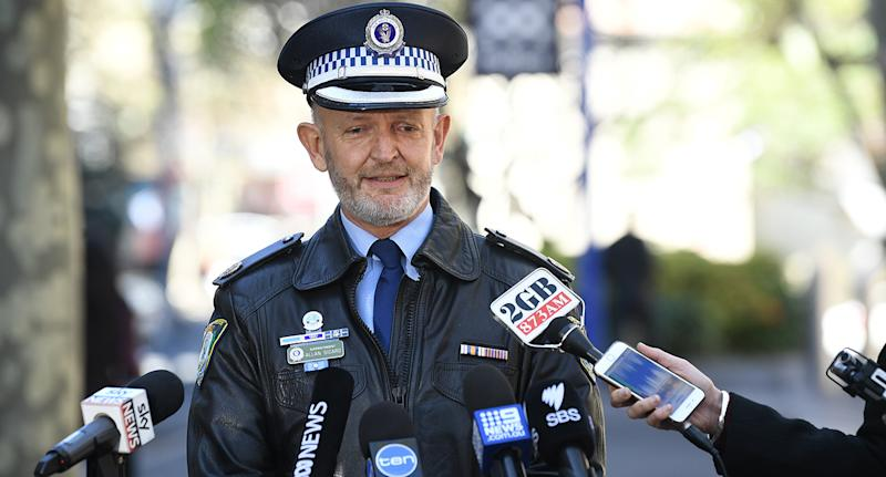 Acting Assistant Commissioner Allan Sicard gives a Defqon 2018 Sydney press conference after suspected overdoses. Source: AAP Image