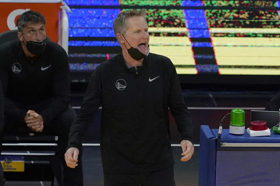 Golden State Warriors head coach Steve Kerr reacts during the first half of an NBA basketball game against the Utah Jazz in San Francisco, Monday, May 10, 2021. (AP Photo/Jeff Chiu)