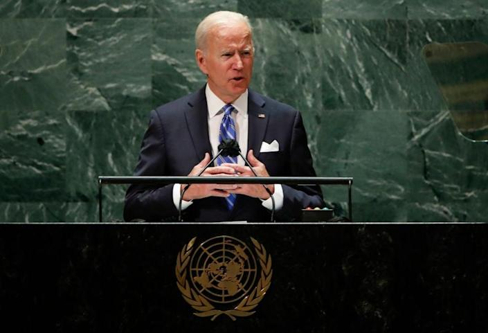 President Joe Biden addresses the 76th Session of the U.N. General Assembly on September 21, 2021 at U.N. headquarters in New York City (Getty Images)