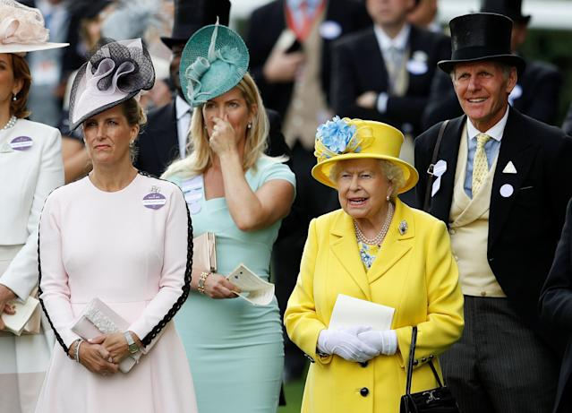 Horse Racing - Royal Ascot - Ascot Racecourse, Ascot, Britain - June 19, 2018 Britain's Queen Elizabeth and Sophie, Countess of Wessex during Royal Ascot REUTERS/Peter Nicholls