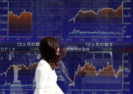 FILE PHOTO - A woman walks in strong wind caused by Typhoon Lan, past an electronic board showing the graphs of the recent movements of Japan's Nikkei average outside a brokerage in Tokyo, Japan, October 23, 2017.   REUTERS/Issei Kato