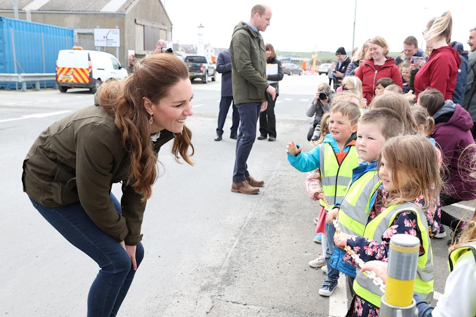 STROMNESS, SCOTLAND - MAY 25: Catherine, Duchess of Cambridge and Prince William, Duke of Cambridge speak to school children as they visit the European Marine Energy Centre on day five of their week long visit to Scotland on May 25, 2021 in Stromness, Scotland.  (Photo by Chris Jackson/Getty Images)
