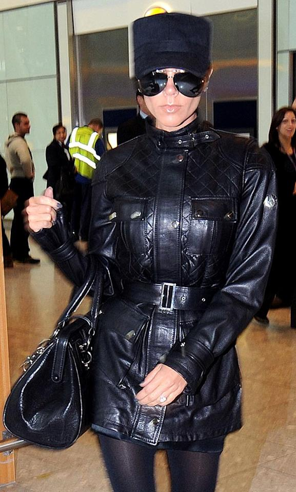 """Her choice of accessories is up for debate, but there is no denying the chicness of Victoria Beckham's posh Belstaff quilted """"Cat"""" jacket, which retails for $1500. Lisa Clements/<a href=""""http://www.splashnewsonline.com"""" target=""""new"""">Splash News</a> - November 4, 2008"""
