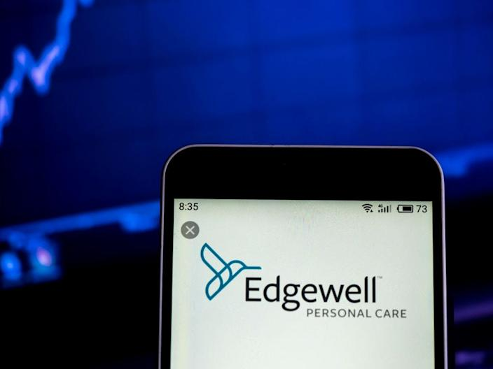 GettyImages 1124725723 UKRAINE - 2019/02/13: In this photo illustration, the Edgewell Personal Care consumer products company logo seen displayed on a smartphone. (Photo Illustration by Igor Golovniov/SOPA Images/LightRocket via Getty Images)