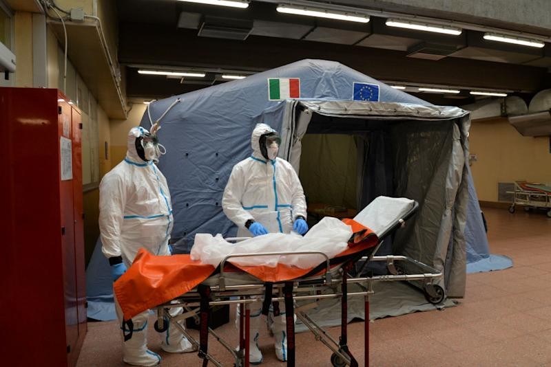 Staff members assigned for Coronavirus tests at the Molinette hospital in Turin.