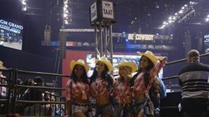 """TAAT™ promotional models wore traditional """"rancher"""" style attire during the PBR """"Unleash the Beast"""" invitational events this weekend at the MGM Grand Garden Arena in Las Vegas"""
