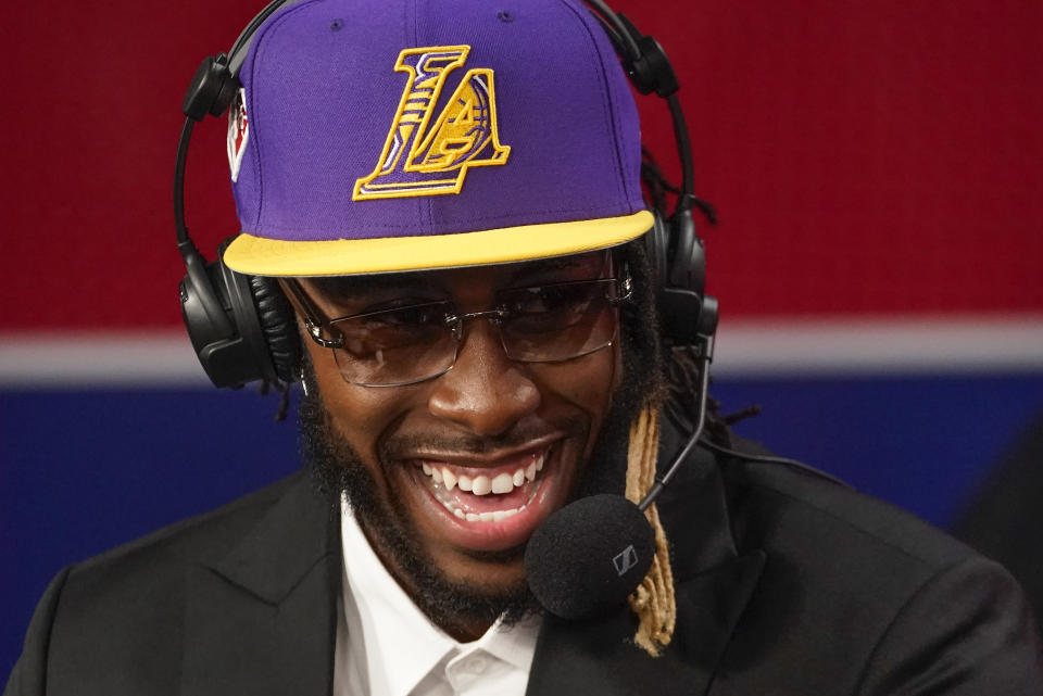 Isaiah Jackson answers questions during an interview after being selected 22nd overall by the Los Angeles Lakers during the NBA basketball draft, Thursday, July 29, 2021, in New York. (AP Photo/Corey Sipkin)