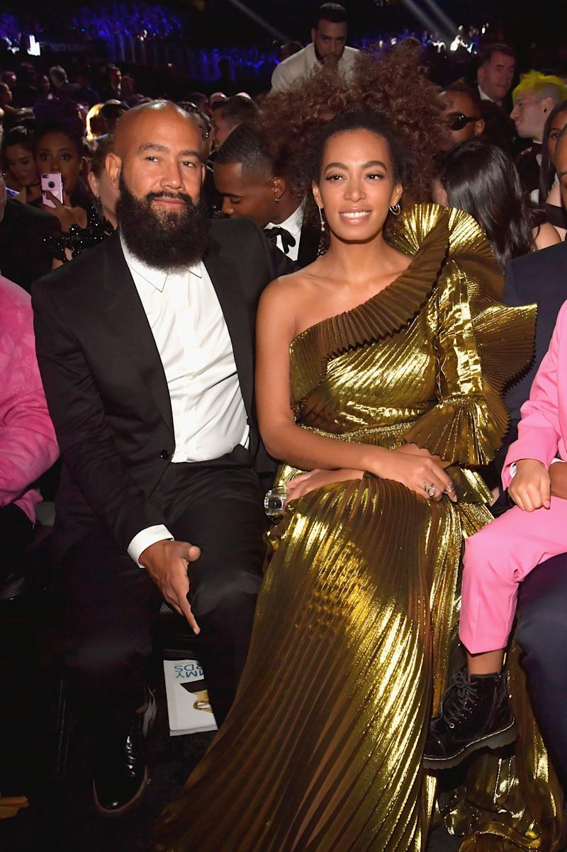 LOS ANGELES, CA - FEBRUARY 12: Alan Ferguson and singer Solange Knowles during The 59th GRAMMY Awards at STAPLES Center on February 12, 2017 in Los Angeles, California. (Photo by Lester Cohen/Getty Images for NARAS)