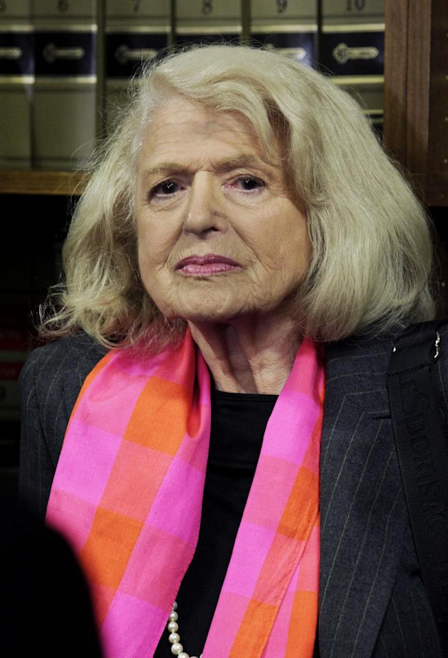 FILE - In this Oct. 18, 2012 file photo, Edith Windsor, 83, attends a news conference at the offices of the New York Civil Liberties Union, in New York. A federal appeals court in Manhattan has become the second in the nation to strike down the Defense of Marriage Act as unconstitutional. The ruling came in a case brought by Windsor. She sued the government in November 2010 because she was told to pay $363,053 in federal estate tax after her partner of 44 years, Thea Spyer, died in 2009. They had married in Canada in 2007. (AP Photo/Richard Drew, File)