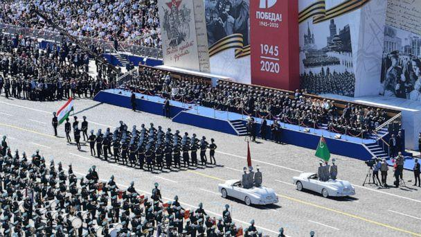 PHOTO: Tajikistan and Turkmenstan servicemen march during the Victory Day military parade in Red Square marking the 75th anniversary of the victory in World War II, on June 24, 2020, in Moscow. (Handout/Host Photo Agency via Getty Images)
