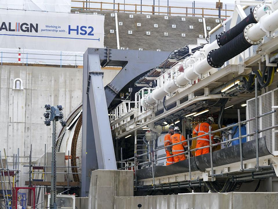 Florence, the tunnel-digging machine, at the HS2 site in West Hyde (PA)