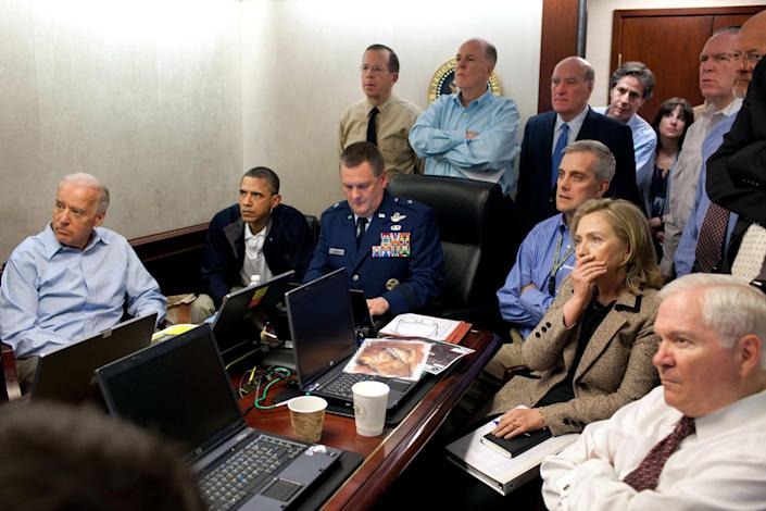 President Barack Obama, Vice President Joe Biden, and members of the national security team, receive an update on the mission against Osama bin Laden in the Situation Room of the White House on May 1, 2011. (AP Photo/The White House, Pete Souza/file)