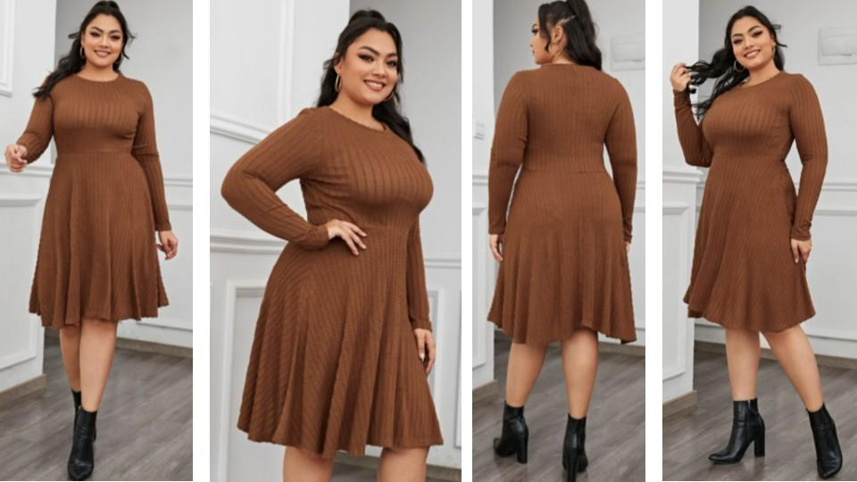 Long Sleeve Ribbed Fit & Flare Dress - Shein, $ 23