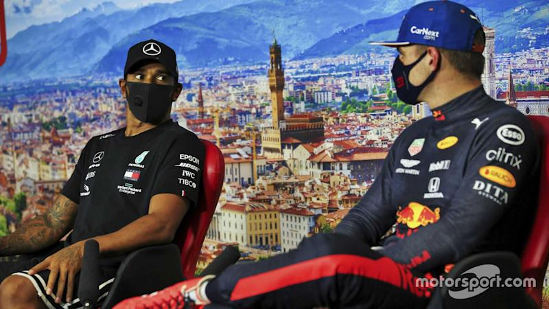Lewis Hamilton and Max Verstappen at Tuscany GP 2020