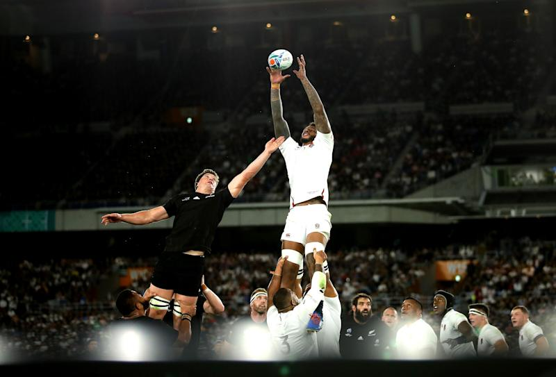 Courtney Lawes climbs high to claim a lineout