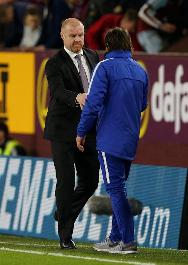 "Soccer Football - Premier League - Burnley vs Chelsea - Turf Moor, Burnley, Britain - April 19, 2018 Burnley manager Sean Dyche shakes hands with Chelsea manager Antonio Conte after the match REUTERS/Andrew Yates EDITORIAL USE ONLY. No use with unauthorized audio, video, data, fixture lists, club/league logos or ""live"" services. Online in-match use limited to 75 images, no video emulation. No use in betting, games or single club/league/player publications. Please contact your account representative for further details."