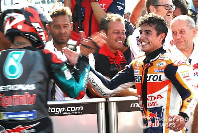 "Fabio Quartararo, Petronas Yamaha SRT, Marc Márquez, Repsol Honda Team <span class=""copyright"">Gold and Goose / Motorsport Images</span>"