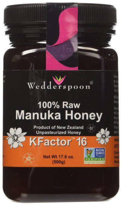 """<p>This special honey is created from a specific breed of bees from New Zealand and is a sweet natural cure-all to everything from sore throats to staph infections! <a href=""""http://www.wedderspoon.com"""" rel=""""nofollow noopener"""" target=""""_blank"""" data-ylk=""""slk:Raw Manuka Honey"""" class=""""link rapid-noclick-resp"""">Raw Manuka Honey</a> ($40)</p>"""