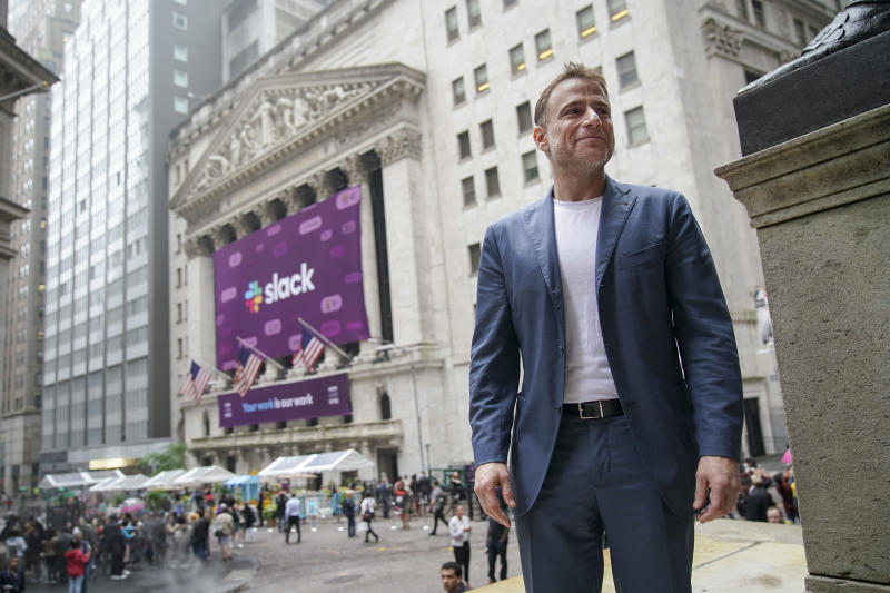 NEW YORK, NY - JUNE 20: Stewart Butterfield, co-founder and chief executive officer of Slack, stands outside the New York Stock Exchange (NYSE) before the opening bell, June 20, 2019 in New York City. The workplace messaging app Slack will list on the New York Stock Exchange this morning. NYSE set the reference price for the direct listing at $26 per share late on Wednesday. (Photo by Drew Angerer/Getty Images)