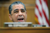 FILE - In this Feb. 28, 2020 file photo, Rep. Adriano Espaillat, D-N.Y., speaks during a House Foreign Affairs Committee hearing in Washington. Espaillat says he has the coronavirus. The New York Democrat's announcement Thursday makes him the latest House member to report testing positive since dozens huddled together for protection during the Jan. 6 mob attack on the U.S. Capitol. (AP Photo/Carolyn Kaster)