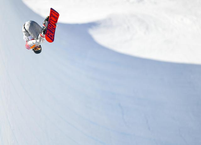 <p>Kelly Clark of USA in action during the Snowboard Ladies Halfpipe Final on day four of the Winter Olympics at the Phoenix Snow Park in Pyeongchang-gun, South Korea. (Photo By Ramsey Cardy/Sportsfile via Getty Images) </p>