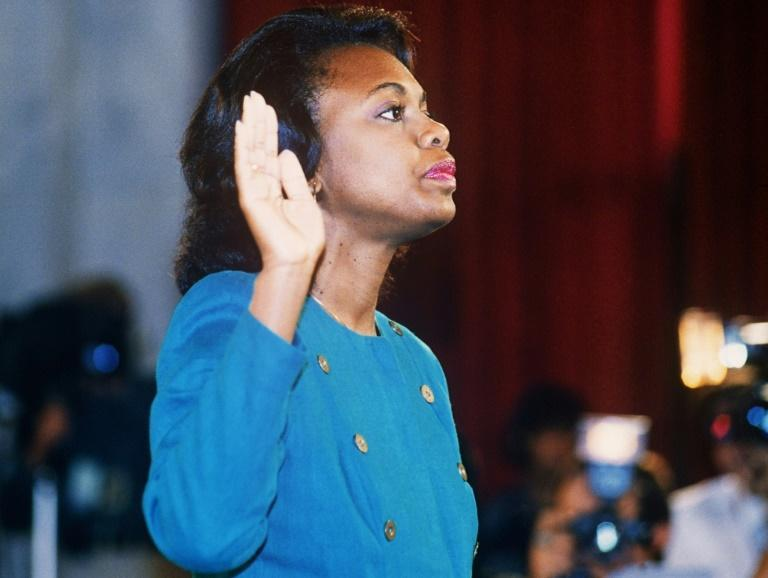 Anita Hill takes the oath before the Senate Judiciary Committee on October 11, 1991 -- a hearing that Joe Biden is still criticized for