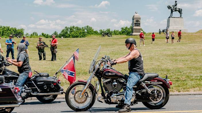 Some turned up with the confederate flag attached to their motorcycles