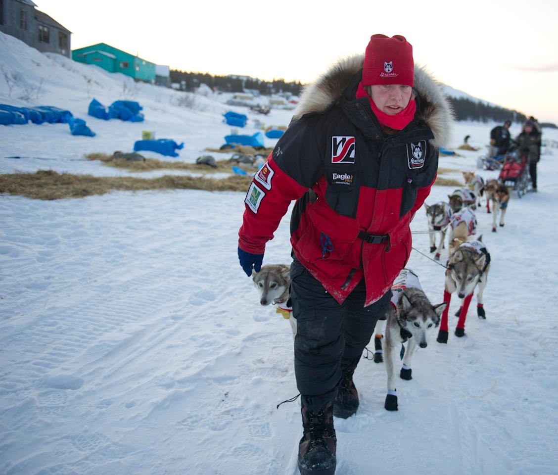 Aliy Zirkle leaves White Mountain, Alaska, in second place during the Iditarod Trail Sled Dog Race on Tuesday, March 13, 2012. (AP Photo/Anchorage Daily News, Marc Lester)