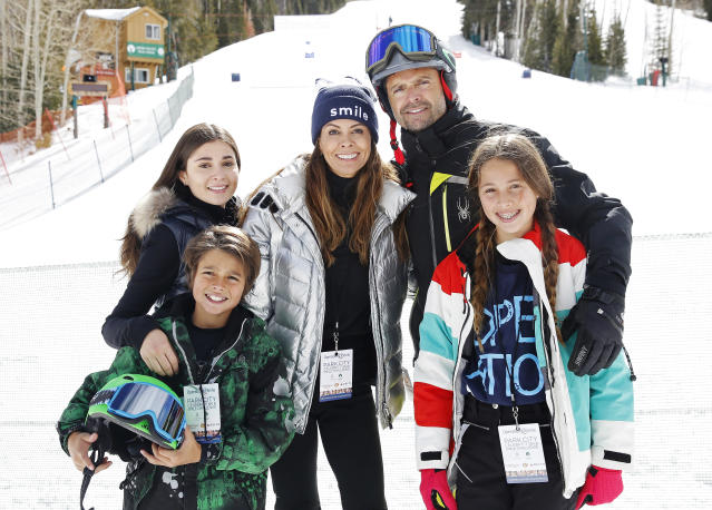 Brooke Burke and David Charvet, who first started dating when they were in their 20s, with their children — Sierra, Shaya, and Rain — at Operation Smile's 7th Annual Park City Ski Challenge in Park City, Utah. (Photo: Kim Raff/Getty Images for Operation Smile)