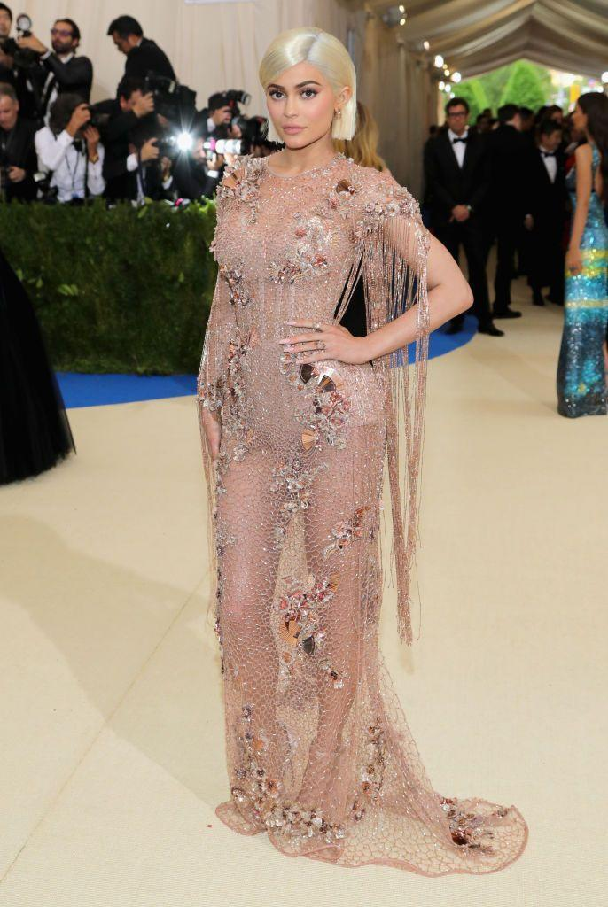 <p>Blonde for the night Jenner wore Versace for the 2017 Met Gala</p>