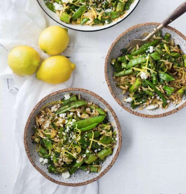 """<strong>Get the <a href=""""http://www.feastingathome.com/spring-orzo-with-asparagus-lemon-and-dill/"""" rel=""""nofollow noopener"""" target=""""_blank"""" data-ylk=""""slk:Spring Orzo With Asparagus, Lemon And Dill recipe"""" class=""""link rapid-noclick-resp"""">Spring Orzo With Asparagus, Lemon And Dill recipe</a>&nbsp;from Feasting at Home</strong>"""