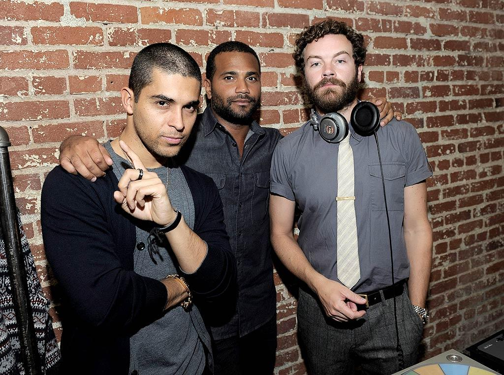 """But on Tuesday, it was all about the party! Two of Ashton's """"That '70s Show"""" co-stars, Wilmer Valderrama (right) and Danny Masterson (left), even came out to show their support. Danny also spun tunes. (11/1/2011)"""