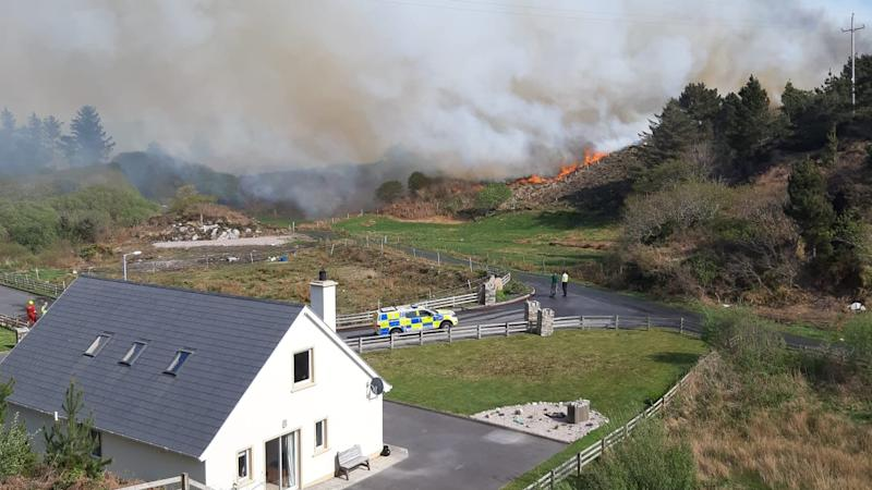 Army brought in to tackle large gorse fire in Donegal