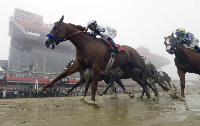 FILE - In this May 19, 2018, file photo, Justify, with Mike Smith aboard, wins the 143rd Preakness Stakes horse race at Pimlico race course in Baltimore. Justify, who won the first two legs, won the Belmont Stakes on Saturday, June 9, 2018, to complete horse racing's Triple Crown. (AP Photo/Patrick Semansky, File)