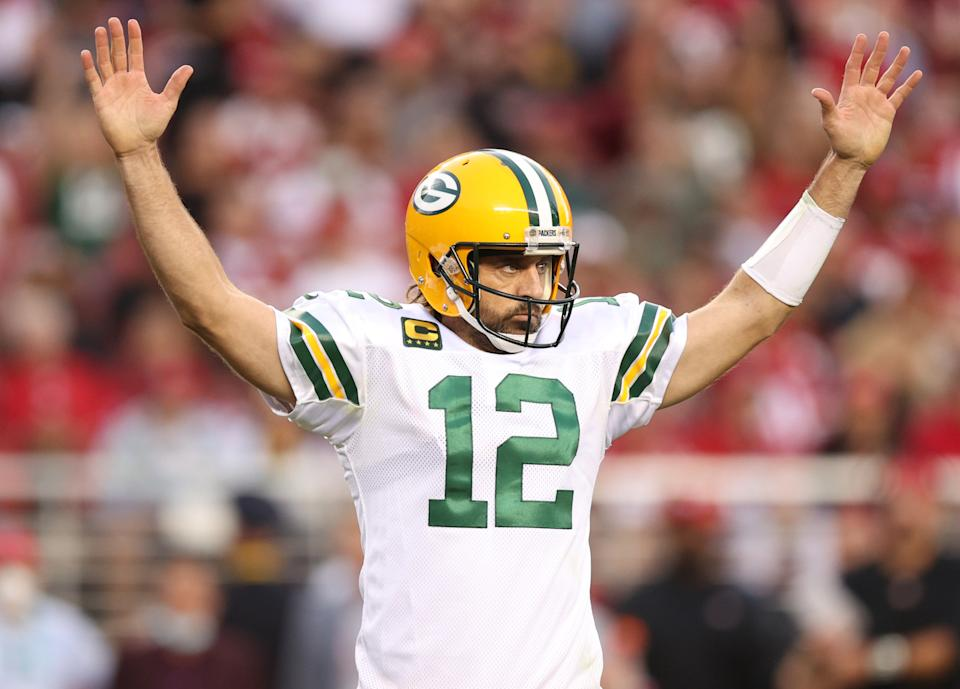 SANTA CLARA, CALIFORNIA - SEPTEMBER 26: Aaron Rodgers #12 of the Green Bay Packers celebrates after a touchdown during the second quarter against the San Francisco 49ers in the game at Levi's Stadium on September 26, 2021 in Santa Clara, California. (Photo by Ezra Shaw/Getty Images)