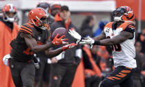 Cleveland Browns wide receiver Breshad Perriman (19) catches a pass against Cincinnati Bengals strong safety Shawn Williams (36) during the first half of an NFL football game, Sunday, Dec. 23, 2018, in Cleveland. (AP Photo/David Richard)