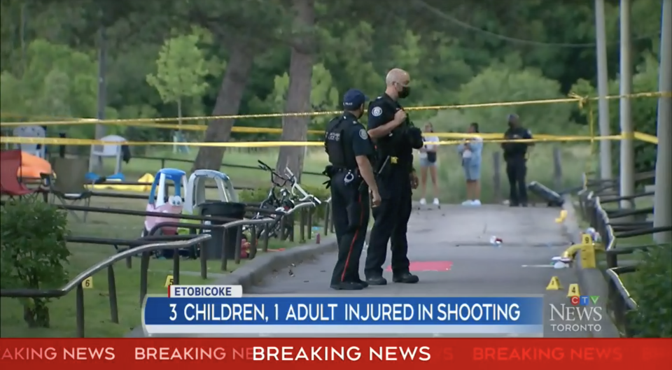 Three children and a man were shot at a one-year-old's birthday party. Source: CTV News