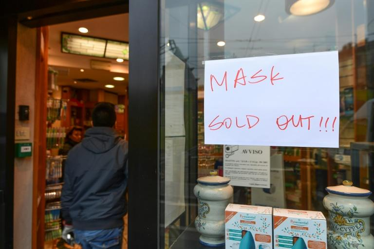 The rush to buy face masks -- which have now all but sold out in pharmacies in Italy's north -- has been one of panic in the country