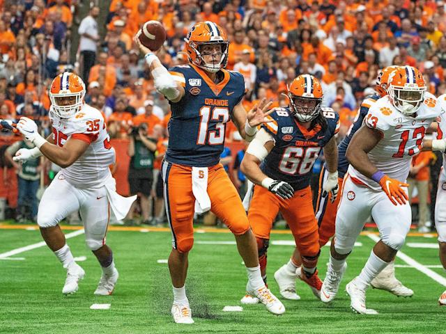<p>Syracuse quarterback Tommy DeVito throws the ball during the second quarter of the game between Clemson and the Orange on Sept. 14, 2019, at the Carrier Dome.</p>
