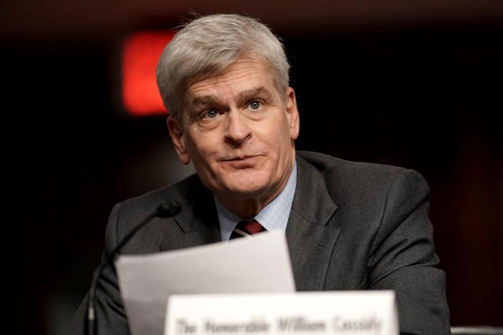 WASHINGTON, DC - JANUARY 27: Sen. Bill Cassidy (R-LA) introduces nominee for United Nations Ambassador Linda Thomas-Greenfield during her Senate Foreign Relations Committee confirmation hearing on January 27, 2021 in Washington, DC. Thomas-Greenfield previously served as Assistant Secretary of State for African Affairs during the Obama administration. (Photo by Greg Nash-Pool/Getty Images) ORG XMIT: 775615748 ORIG FILE ID: 1230816466