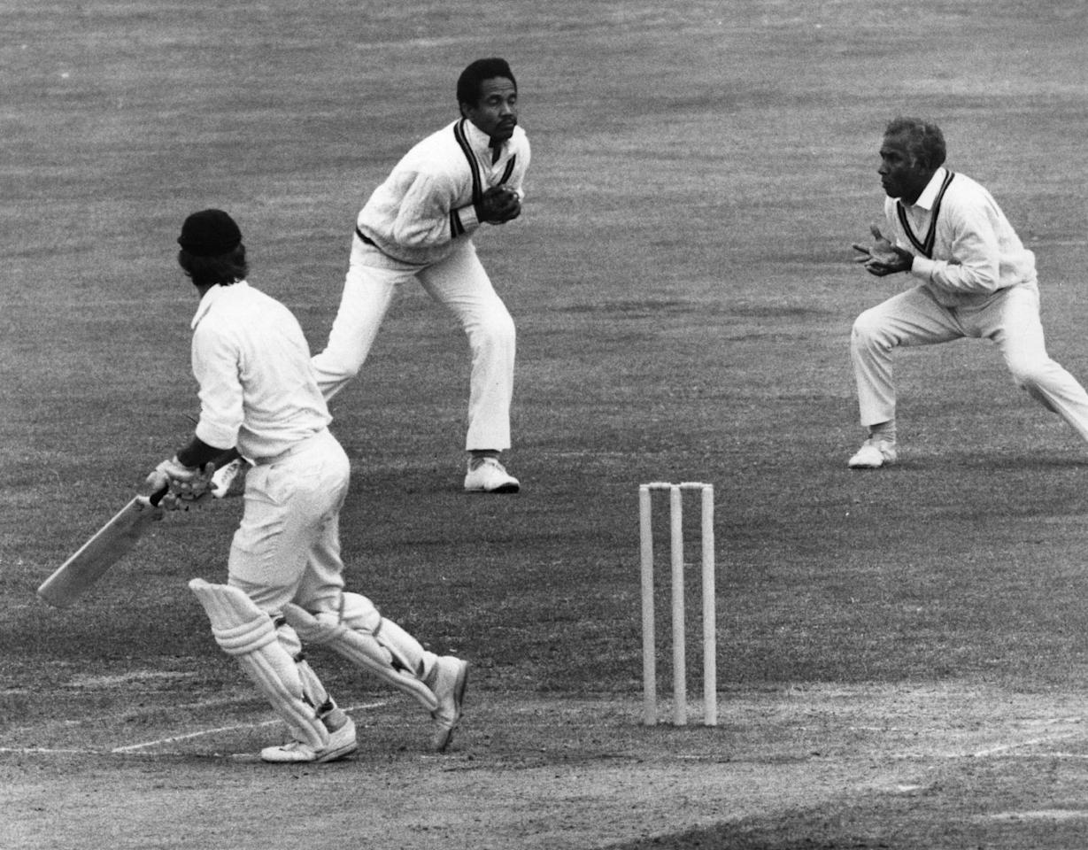 27th August 1973:  West Indian cricketer Gary Sobers catches out England's Luckhurst in the Third Test at Lord's.  (Photo by Central Press/Getty Images)